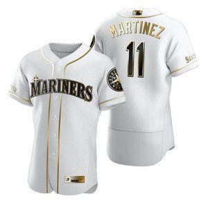 Mariners #11 Edgar Martinez White Golden Jersey